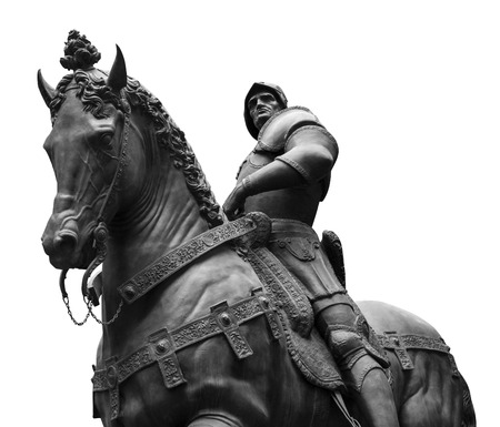 Sculpture of man on a horse isolated on white