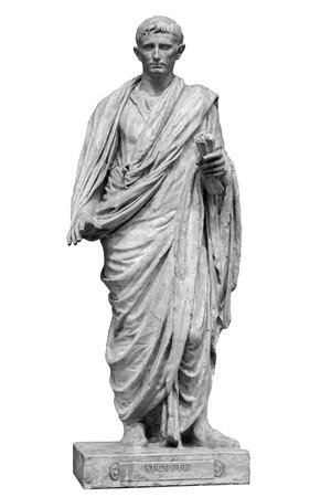 Caesar Octavianus Augustus roman emperor adopted son of Julius Caesar. Isolated statue on white