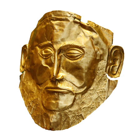 The golden funeral mask of Agamemnon isolated on white Stock Photo