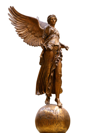 Beautiful young woman angel statue isolated on white background