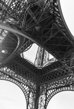 An abstract view of details of Eiffel Tower in black and white, Paris, France