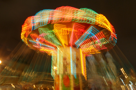 Carousel lights and movements, long exposure photography