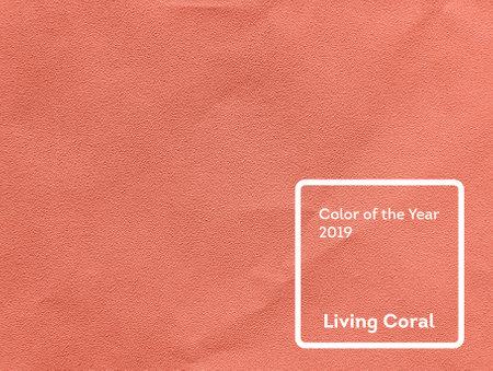 Levende koraalkleur van het jaar 2019. Papiertextuurachtergrond met koraal in trendy kleur