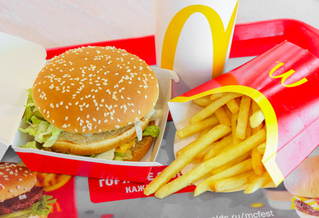 Moscow, Russia, February 12 2019: Big Mac hamburger menu in McDonald Redakční