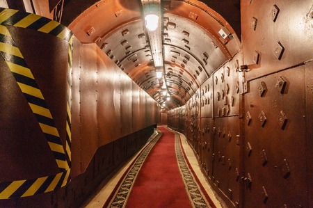 Underground tunnel. Abandoned bunker from cold war. Anti-nuclear underground bunker facility.