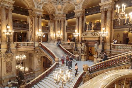 Paris, France, March 31 2017: Interior view of the Opera National de Paris Garnier, France. It was built from 1861 to 1875 for the Paris Opera house Redakční