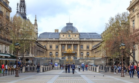 Paris, France - 1 April, 2017: Palace of Justice The Palais de Justice is located in central Paris. Former prison, where Marie Antoinette was imprisoned before being executed on the guillotine