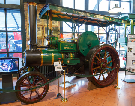 Istanbul, Turkey, 23 March 2019: The lady Devorgilla Tractor in Rahmi M. Koc Industrial Museum. Koc museum has one of the biggest classic car collection in Turkey