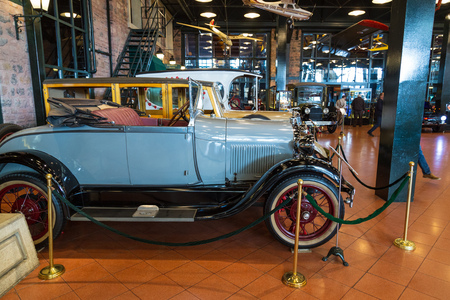 Istanbul, Turkey, March 2019: Classic cars in Rahmi M. Koc Industrial Museum. Koc museum has one of the biggest auto vehicles collection in Turkey. Hall of vintage nostalgic antique autos exhibited