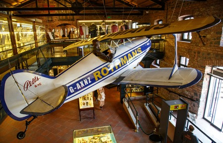 Istanbul, Turkey, 23 March 2019: Biplane PITTS S1c in Rahmi M. Koc Industrial Museum. Koc museum has one of the biggest vehicles collection in Turkey. Aircraft hall with airplane hanging on top