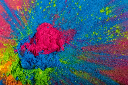 Abstract colorful Happy Holi background. Color vibrant powder isolated on white. Dust colored splash texture. Фото со стока - 130809594