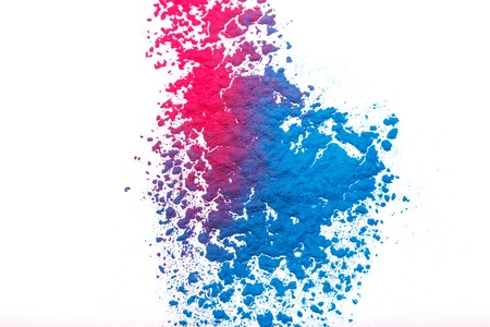 Abstract colorful Happy Holi background. Color vibrant powder isolated on white. Dust colored splash texture. Фото со стока - 130809595