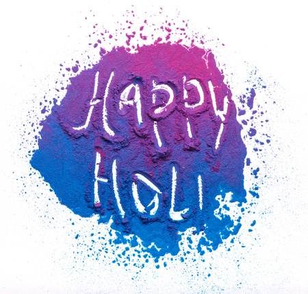Abstract colorful Happy Holi background. Color vibrant powder isolated on white. Dust colored splash texture. Фото со стока - 130809596