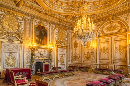 Fontainebleau, France, March 30, 2017: Fontainebleau Palace room interiors. Chateau was one of the main castles of French kings national museum and a UNESCO World Heritage Site