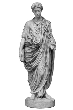 Young roman emperor Commodus statue isolated over white background. Lucius Aurelius Commodus reign is commonly considered to mark the end of the golden period in the history of the Roman Empire