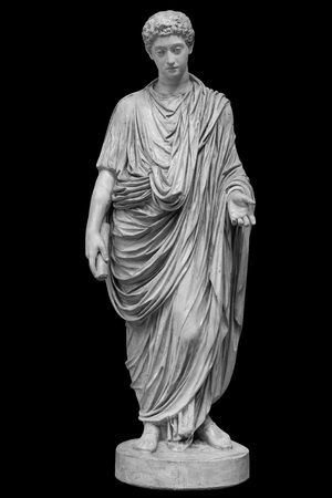 Young roman emperor Commodus statue isolated over black background. Lucius Aurelius Commodus reign is commonly considered to mark the end of the golden period in the history of the Roman Empire