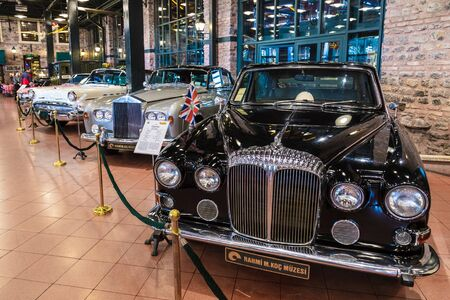 Istanbul, Turkey, 23 March 2019: Classic cars in Rahmi M. Koc Industrial Museum. Koc museum has one of the biggest auto vehicles collection in Turkey. Hall of vintage nostalgic antique autos exhibited