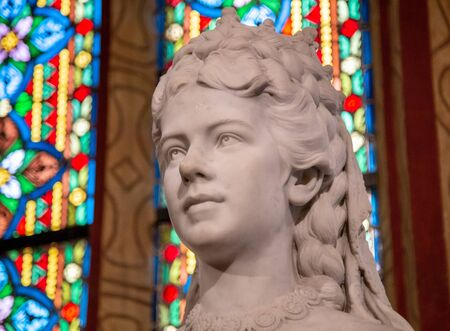 Budapest, Hungary, March 22 2018: Sculpture of Empress Elisabeth of Austria and Queen of Hungary in St. Matthias Church