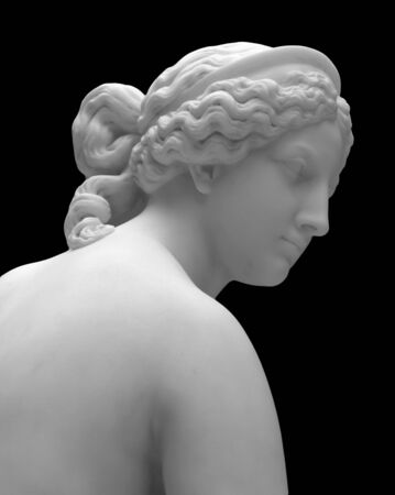 Marble head sculpture of young woman, ancient Greek goddess art bust statue isolated on black background 스톡 콘텐츠