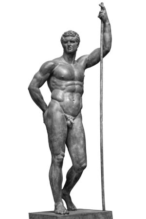 Ancient bronze statue of naked man isolated on white background. Muscular sculpture