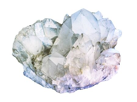 Himalayan clear quartz cluster with hematite inclusions isolated on white background. rock crystal macro shooting of geological collection mineral - piece of celestine crystals. Standard-Bild