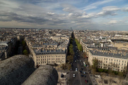 Beautiful panoramic view of Paris from the roof of the Triumphal Arch. Champs Elysees and the Eiffel Tower 版權商用圖片