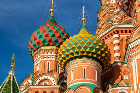 The most famous architectural place for visiting and attraction in Moscow, Russia, Saint Basil. Moscow, Russia, Europe. It is famous landmark of Moscow. Saint Basil`s church in Moscow center close-up Banco de Imagens