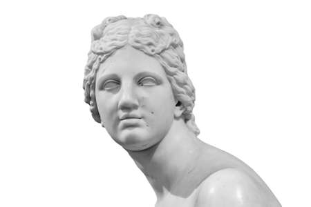 Ancient white marble sculpture head of young woman. Statue of sensual renaissance art era woman antique style