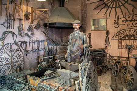 Istanbul, Turkey, 23 March 2019: Old smithy recreation in Rahmi M. Koc Industrial dedicated to history of transport, industry and communications