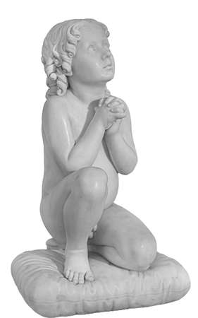 Beautiful marble statue of an pray infant angel isolated on white 版權商用圖片