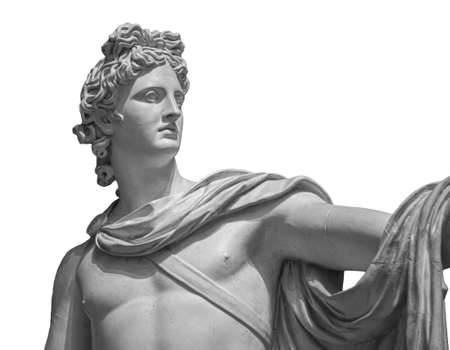 God Apollo bust sculpture. Ancient Greek god of Sun and Poetry Plaster copy of a marble statue isolated on white 版權商用圖片