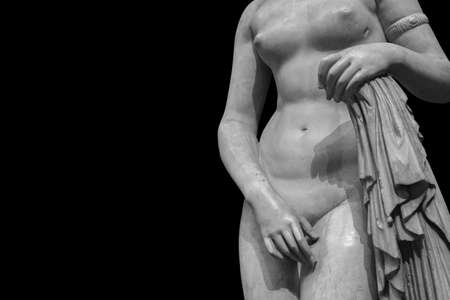 Ancient marble statue of a nude woman. Antique naked female sculpture. 版權商用圖片