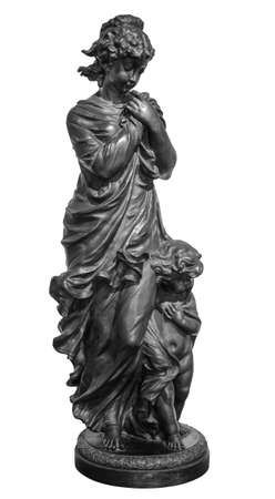 Ancient Roman or Greek neoclassical statue of young woman isolated on white background. Female sculpture 版權商用圖片