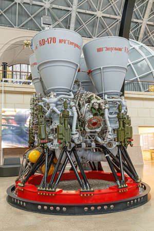 Moscow, Russia - November 28, 2018: Rocket engine RD-170. Space museum. Inside The Cosmonautics and Aviation Centre in the Cosmos pavilion of VDNH. Aircraft exhibition. Rocket science