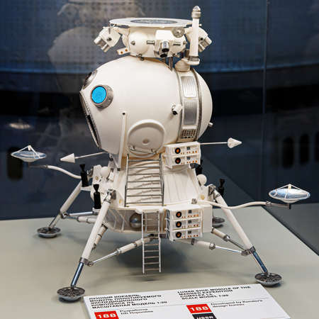 Moscow, Russia - November 28, 2018: Lunar landing module in Space museum. Inside The Cosmonautics and Aviation Centre in the Cosmos pavilion of VDNH. Aircraft exhibition. Rocket science 新聞圖片