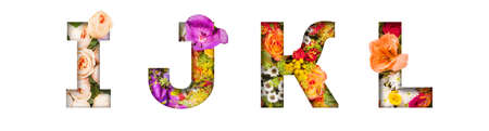 Floral letters. The letters I, J, K, L are made from colorful flower photos. A collection of wonderful flora letters for unique spring decorations and various creation ideas 版權商用圖片