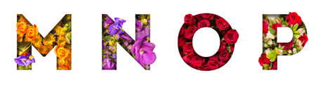 Floral letters. The letters M, N, O, P are made from colorful flower photos. A collection of wonderful flora letters for unique spring decorations and various creation ideas