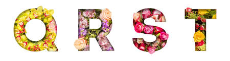 Floral letters. The letters Q, R, S, T are made from colorful flower photos. A collection of wonderful flora letters for unique spring decorations and various creation ideas 版權商用圖片