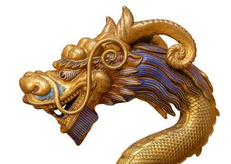 Golden Dragon isolated on white background 版權商用圖片