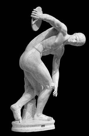 Discus thrower discobolus a part of the ancient . A Roman copy of the lost bronze Greek original. Isolated on black