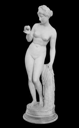 Ancient marble statue of a nude woman. Antique naked female sculpture. Sculpture isolated on black background