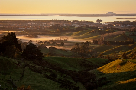 Autumn Sunrise from View Point in Katikati, North Island of New Zealand