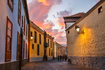 renovated: The Historical street in old town of La Laguna, Tenerife, Canary Islands