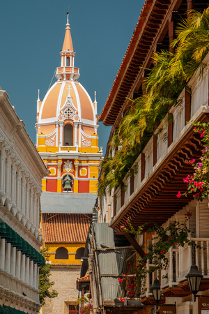 View of church in Cartagena town, Colombia Stock Photo