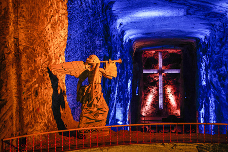 The Salt Cathderal of Zipaquira town is famous turistic place in Colombia, near Bogota Standard-Bild