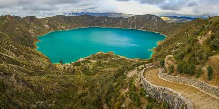 Quilotoa lagoon circle trek, near Latacunga town in Ecuador