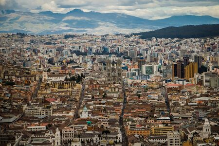 The panoramatic view of Quito city, capital of Ecuador