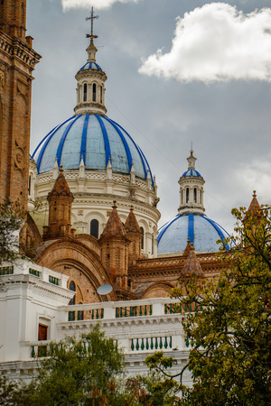 The Blue roof cathedral as a dominant of town of Cuenca, Ecuador Stock Photo