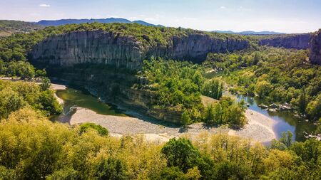 The natural horseshoe canyon of Ardeche River in Ardeche National park, France