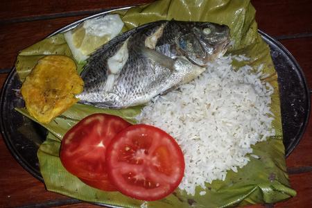 platanos fritos: Pescado preparado especial envuelto en hojas de plátano en la gira de la selva amazónica, Ecuador